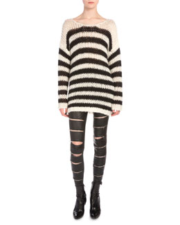 Striped Long-Sleeve Sweater & Zip-Slit Leather Pants
