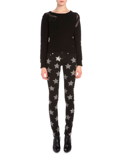 Cropped Chain-Detailed Distressed Sweater & Star-Print Denim Skinny Jeans