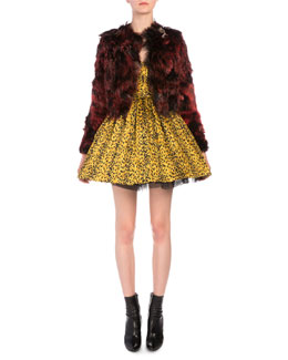 Brooch-Detailed Feathered Alpaca Fur Open Jacket & Leopard-Print Plisse Fit-And-Flare Dress