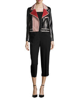 Multicolored Leather Jacket & High-Waist Cropped Pants