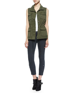 Arden Sleeveless Military Jacket & Suvi Skinny Button-Cuff Utility Pants