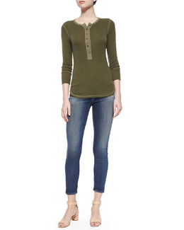 Ribbed Long-Sleeve Sycamore Tee & Maria High-Rise Skinny Ankle Jeans