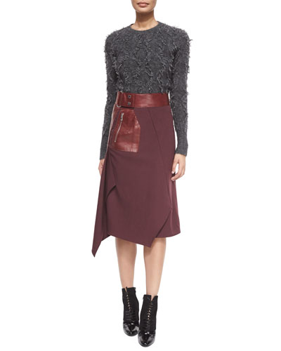 Long-Sleeve Fringe Pullover Sweater & Leather Flight Detail Skirt