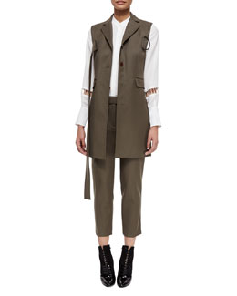 Slim Long Vest with Utility Strap, Ladder-Embroidered Silk Blouse & Cropped Utility Pants