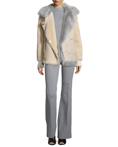 Ribbed-Trim Fur Coat, Sleeveless Mock-Neck Wool Top & Anson Woven Flare-Leg Pants