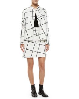 Jigsaw Windowpane-Print Jacket, Long-Sleeve V-Neck Cashmere Sweater & Jigsaw Windowpane-Print Skirt
