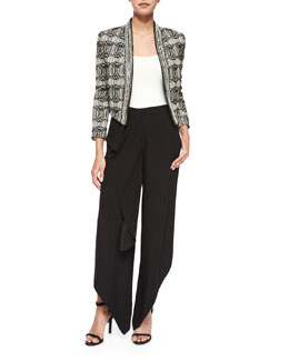 Tribal-Print Chevron-Embellished Jacket & Drape-Front Pants with Ruffle