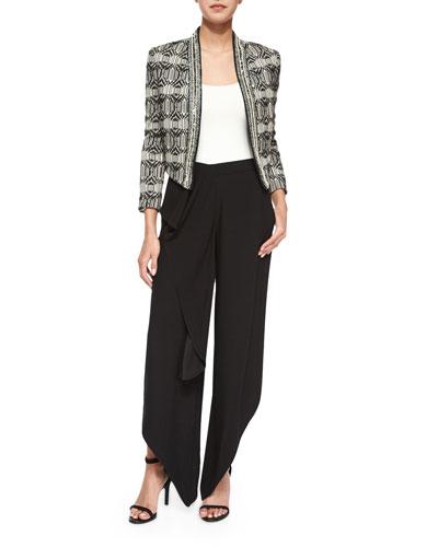 Tribal-Print Chevron-Embellished Jacket & Drape-Front Pants with Ruffle
