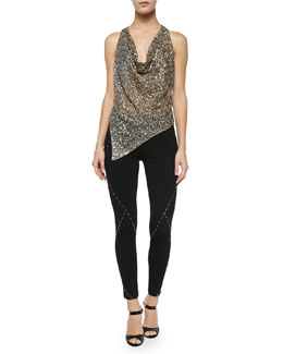 Embellished Asymmetric Cowl-Neck Tank & Ponte Leggings w/Stud Detail