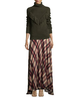 Ribbed Turtleneck with Fringe & Chevron Plaid Print Silk Maxi Skirt