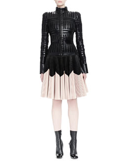 Laser-Cut Sheer Paneled Jacket & Plisse Colorblock Leather Skirt