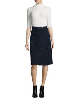 Leenda Turtleneck Sweater & Slyn Fixture Button-Front Ponte Skirt