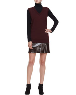 Audria Preen Reversible Sweater Vest, Eliezer Turtleneck Long-Sleeve Top & Berdin L. Polished Leather Skirt