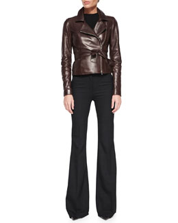 Burliny Tie-Waist Leather Jacket & Jotsna Cavalry Flare Pants