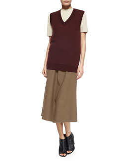 Audria Preen Reversible Sweater Vest, Edalina Wool-Blend Stitched Sweater & Anneal Stretch-Wool Wrap Skirt