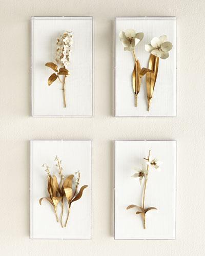 Original Gilded Flower Studies in Acrylic