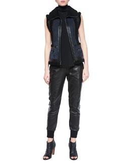 Leather Vest w/Shearling Fur Trim, Laser-Cut Sleeveless Turtleneck Top & Leather Belted Jogger Pants