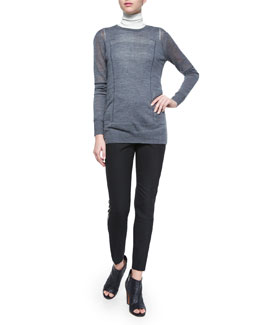 Engineered Mesh Crewneck Sweater, Laser-Cut Sleeveless Turtleneck Top & Piped Slim-Fit Trousers