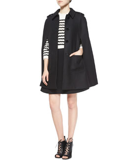 Wool-Blend Button-Front Cape & Striped Sweater Top Flared Dress