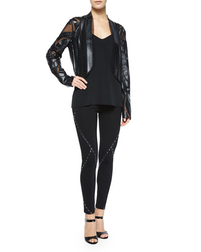 Long-Sleeve Studded Faux-Leather Jacket & Ponte Leggings w/Stud Detail