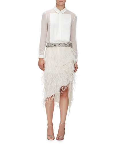 Pleated Front Silk Tux Blouse & Asymmetric Beaded Feather Skirt