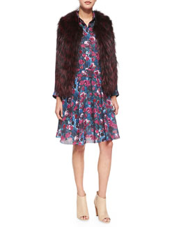 Sleeveless Two-Tone Fur Vest & Long-Sleeve Printed Henley Dress