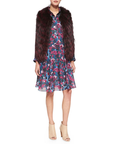 Sleeveless Two-Tone Fur Vest & Long-Sleeve Printed Henley Dress