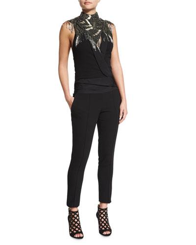 Halter Tuxedo Jumpsuit & Embellished Metal Fringe Neckpiece