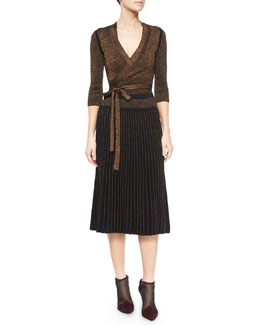 Metallic Knit Tie-Waist Cardigan, Top & Long Pleated Metallic Knit Skirt