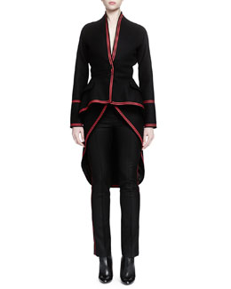 Contrast-Trimmed Tail-Back Coat, Velvet-Trimmed Woven Bustier & Piped Side-Striped Slim Pants