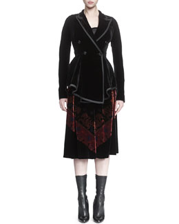 Asymmetric Double-Breasted Velvet Peplum Jacket & Bandana-Print Velvet Midi Skirt