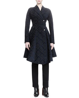 Damask Jacquard Peplum Coat & Satin Tuxedo-Striped Cropped Pants