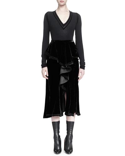 Velvet-Trimmed Jersey Top & Velvet Cascading Ruffle Skirt