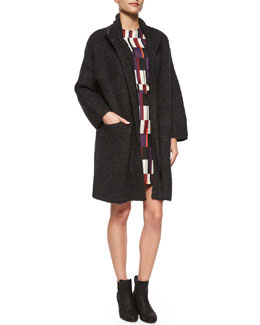 Cammie Knit Sweater Coat & Anne Printed Silk A-Line Dress