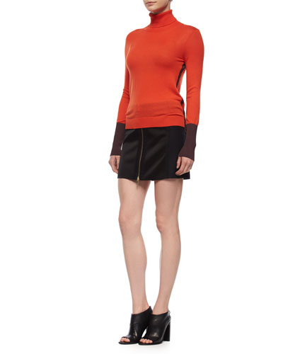 Jessica Colorblock Turtleneck Top & Nettie Zip-Front Skirt