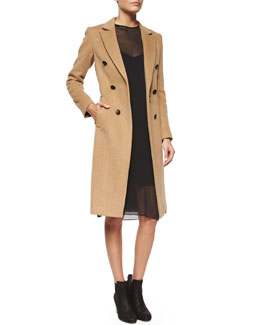 Faye Camel-Hair Button Coat & Eliza Sleeveless Silk Dress