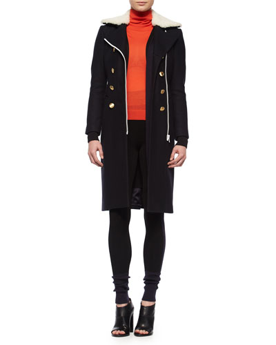 Sullivan Double-Breasted Coat w/Shearling Fur Collar, Jessica Long Open-Front Cardigan & Kristin Colorblock Knit Leggings