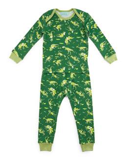 Neon Dinosaurs Pajama Shirt & Pants, Green