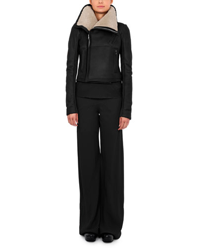 Short-Hair Shearling Fur Jacket, Bonnie Jersey Cowl-Neck T-Shirt & Classic Wide-Leg Combo Pants