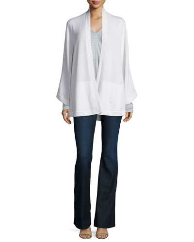Cashmere Long-Sleeve Open-Front Cape, Long-Sleeve V-Neck Top & Dark-Wash Flared Jeans