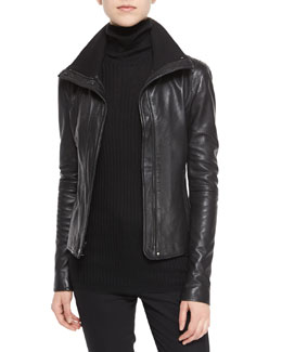 Funnel-Neck Leather Jacket & Long-Sleeve Skinny-Rib Sweater