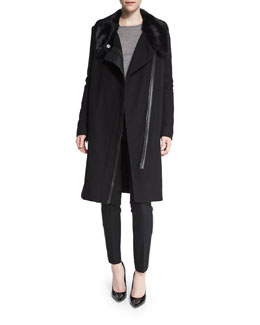 Asymmetric Fur-Collar Coat & Leather-Piped Slim-Fit Trousers