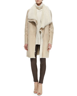 Asymmetric Shearling Fur Coat, Ribbed Sleeveless Turtleneck Sweater & Skinny Leather Pants