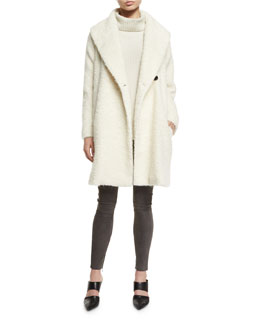 Fuzzy Knit Long Coat, Oversize Ribbed Knit Turtleneck Sweater & Stretch-Suede Zipper-Cuff Leggings