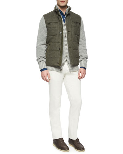 Voyager Quilted Storm System Vest, Baby Cashmere Button-Down Cardigan, Sport Shirt & Four-Pocket Cotton-Stretch Jeans