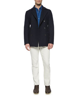 Double-Breasted Cashmere Pea Coat, Huck Lace Long-Sleeve Polo Shirt & Four-Pocket Cotton-Stretch Jeans