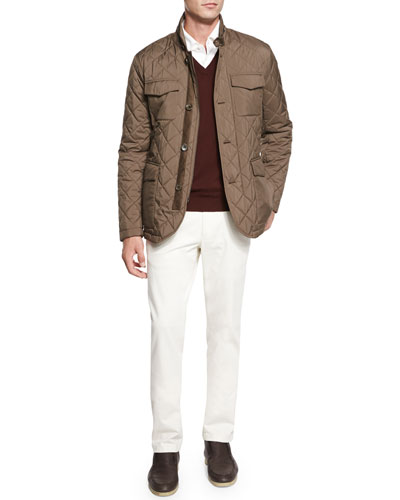Journey Diamond-Quilted Storm Jacket, Baby Cashmere V-Neck Sweater, Andre Long-Sleeve Polo Shirt & Four-Pocket Cotton-Stretch Jeans
