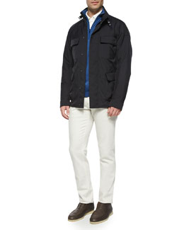 Full-Zip Storm System Jacket, Roadster Half-Zip Cashmere Sweater, Huck Lace Long-Sleeve Polo & Five-Pocket Stretch Denim Jeans