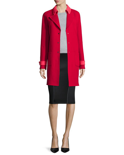 Lisa Wool-Blend Mid-Length Coat, Blu Long-Sleeve Merino Sweater & Arianna Reversible Pencil Skirt