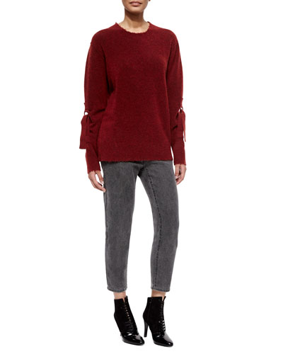 Belted-Sleeve Pullover Sweater & Destroyed Saddle Cropped Jeans